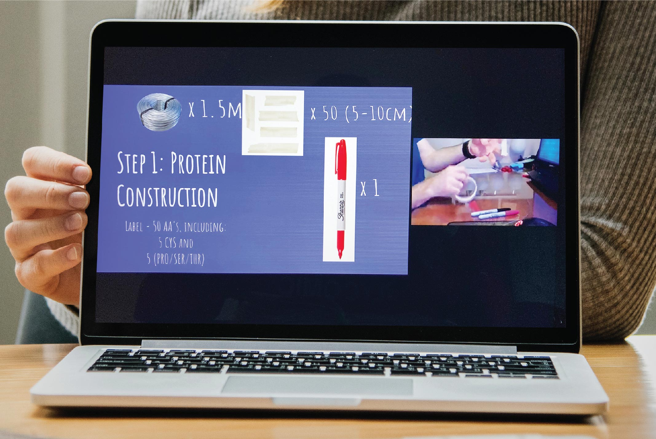 Teachers followed live demo of glycomics-related experiments using pre-mailed science kits.